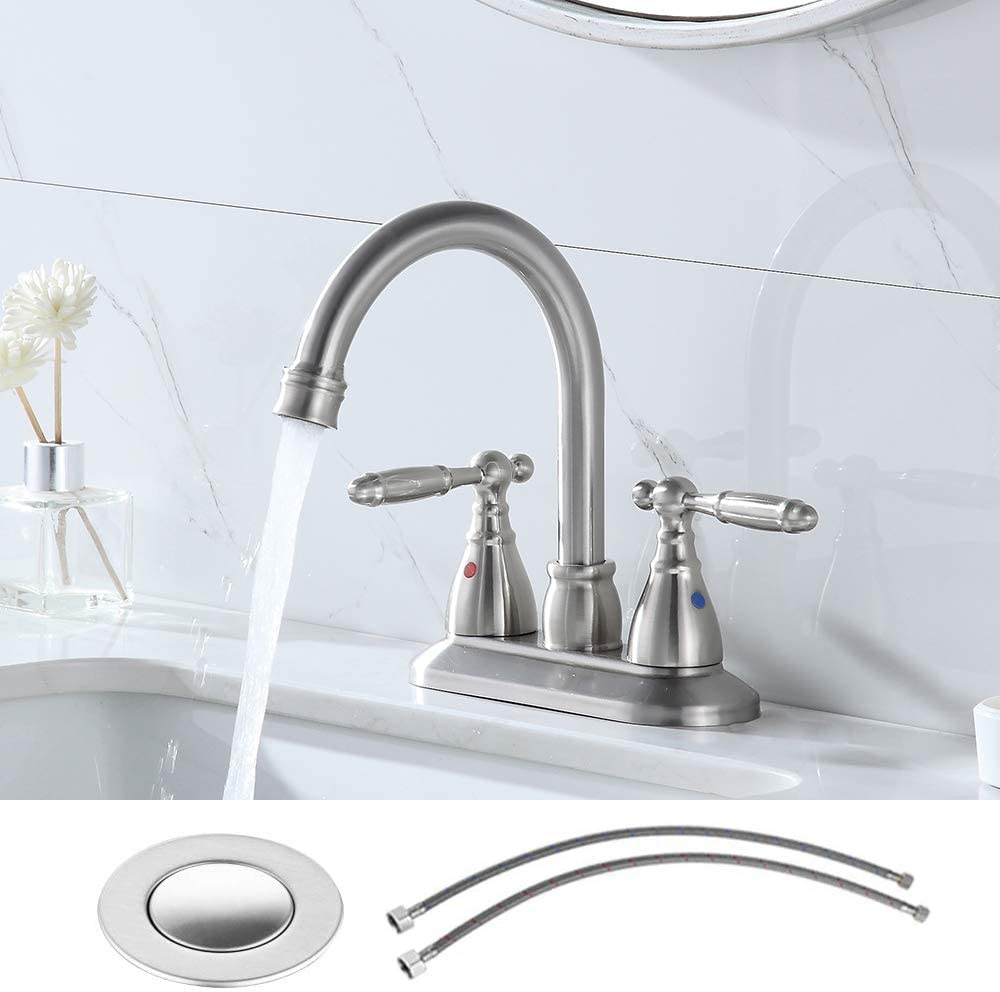 VESLA HOME Modern 2-Handle 4 Inch Brushed Nickel Bathroom Faucet with Drain Assembly and Supply Hose,Lavatory Bathroom Vanity Sink Faucet Lead Free Stainless Steel.