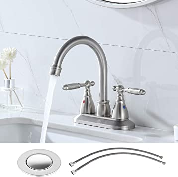 Vesla Home Modern 2 Handle 4 Inch Brushed Nickel Bathroom Faucet With Drain Assembly And Supply Hose Lavatory Bathroom Vanity Sink Faucet Lead Free Stainless Steel Amazon Com