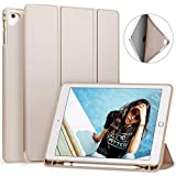 Ztotop Newest iPad 9.7 Inch 2018 Case with Pencil Holder - Lightweight Soft TPU Back Cover and Trifold Stand with Auto Sleep/Wake, Protective for iPad 6th Generation(A1893/A1954), Taupe