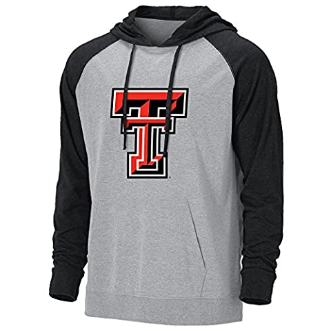 NCAA Texas Tech Red Raiders Men's Light Weight Color Block Hoodie, Premium Heather/Black Heather, (Hoodies Texas)