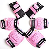 WIN.MAX Protective Gear Pads (Knee pads+Elbow pads+wrist pads) Kids Children Roller Skating Skateboard BMX Scooter Cycling (pink)