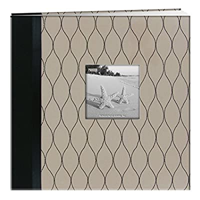 "Pioneer Photo Albums Marquis Embroidered Fabric Frame Cover Post Bound Scrapbook, 12 x 12 x 12"", Beige/Black"