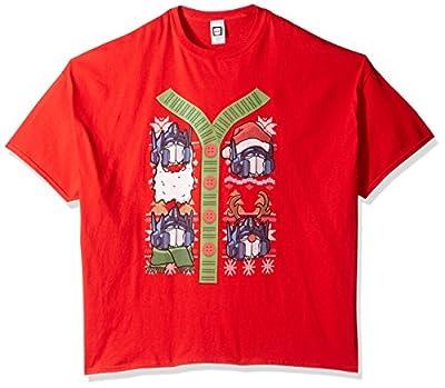 Hasbro Men's Big and Tall Transformers Button up Ugly Christmas T-Shirt B&t