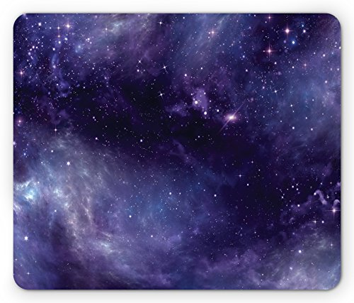 Eggplant Mouse Pad by Ambesonne, Sky with the Open Space Star Constellations and Gloomy Atmosphere Heavenly Bodies, Standard Size Rectangle Non-Slip Rubber Mousepad, Indigo (Stars Eggplant)