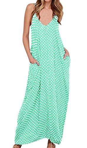 LILBETTER Women V-Neck Polka Dot Print Spaghetti Strap Boho Long Maxi Dresses (S, Green)
