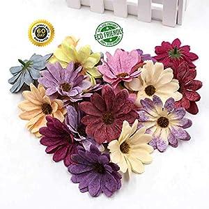 fake flowers heads Bulk Silk Retro Daisy Artificial Flower Head Wedding Decoration DIY Wreath Scrapbook Craft Fake Flowers 30pcs/lot 6cm (Multicolor) 6