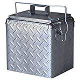 Creative Outdoor Stainless Steel Legacy Cooler w/Built-in Bottle Opener, Insulated Ice Chest w/Vintage-Inspired Design, Chrome Diamond Plate