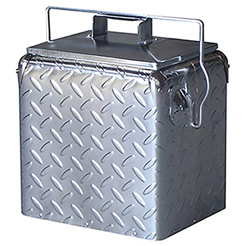 (Creative Outdoor Stainless Steel Legacy Cooler w/Built-in Bottle Opener, Insulated Ice Chest w/Vintage-Inspired Design, Chrome Diamond Plate)