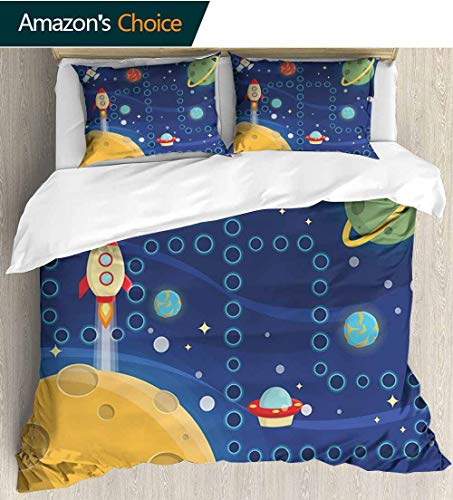 (Kids Activity Full/Queen Size Quilt Bedding Set,Colorful Space Themed Activity Board Interplanetary Travel Racing in Cosmos Kids Bedding - Double Brushed Microfiber 87