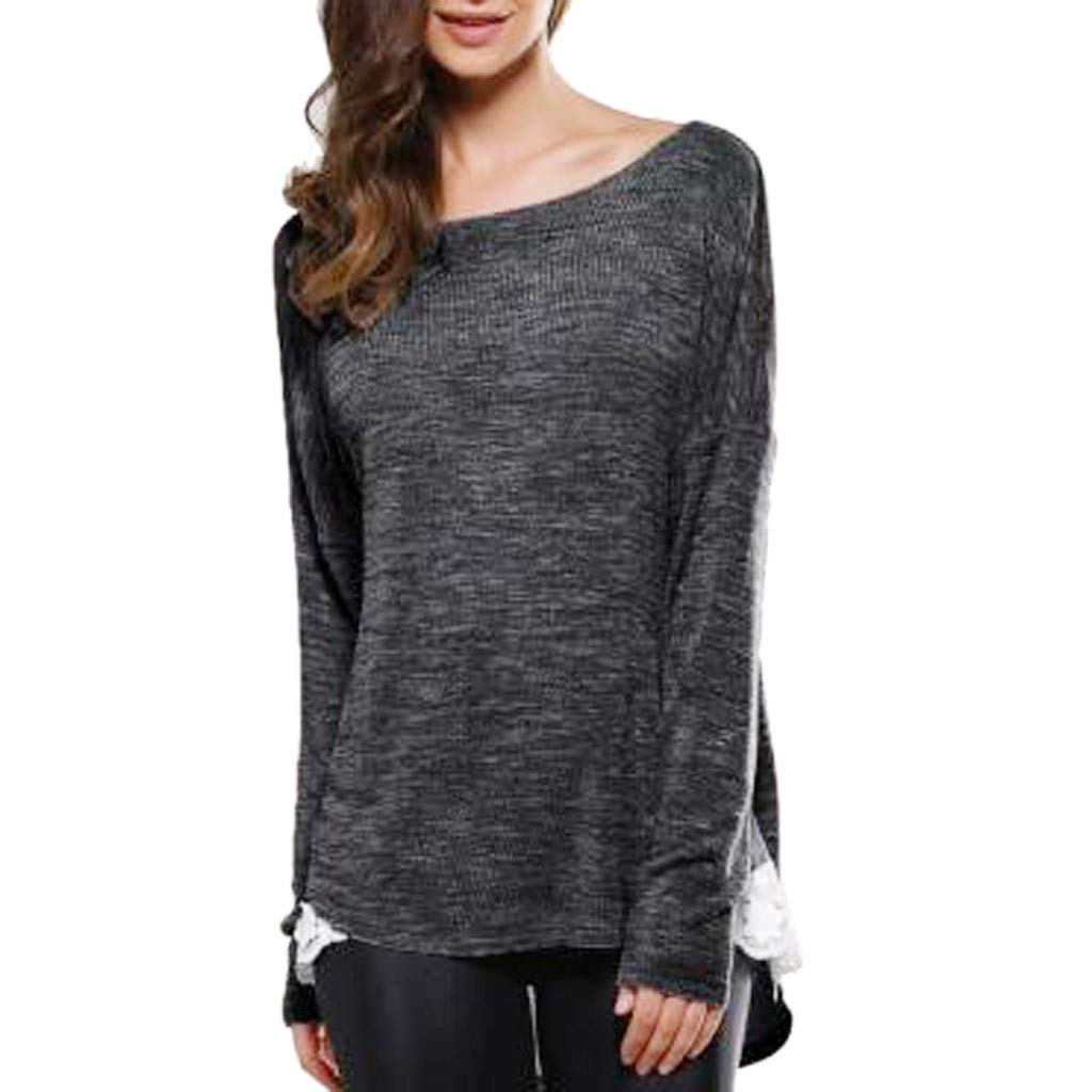 AOJIAN Blouse Women Long Sleeve T Shirt Lace Stitching Sweatshirt Tees Sweater Shirts Tops at Amazon Womens Clothing store: