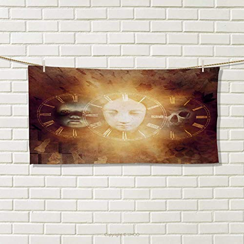 """Chaneyhouse Psychedelic,Travel Towel,Gothic Spooky Birth Life Death Mask and Skull Baby Face Sacred Artwork Design,100% Microfiber,Tan Golden Size: W 12"""" x L 27.5"""""""