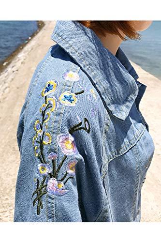 Allacciare Di Primavera Donne Casual Cappotto Libero Autunno Jeans Embroided Giacche Fasumava Blu Le qvOtAwxU8