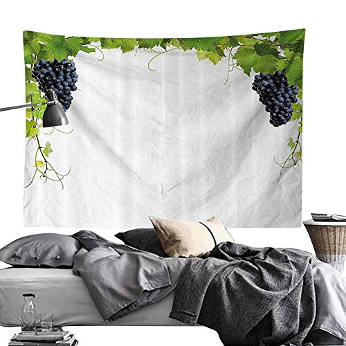 (Bedroom Living Room Dormitory Tapestry Grapes Home Decor Wine Leaf with Loose Bunch of Large Berries Tannin Breed French Village Wall Hanging W84 x L54 Green Black)