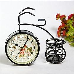 SUWIN European Retro Garden Table Clock Ornament Creative Iron Bicycle Living Room Children Mute Metal with Pen Holder 23720Cm