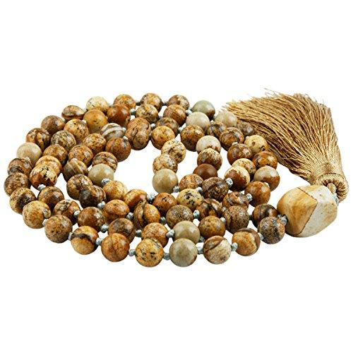 - SUNYIK Picture Jasper Wrap Bracelet,Beaded Necklace Tibetan Buddhist Prayer Beads