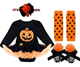 FEESHOW Baby Girls Halloween Costumes Pumpkin Romper Tutu Dress Party Outfit Set
