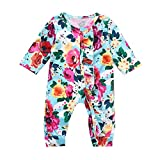 Kids Clothes, Infant Baby Girls&Boys Long Sleeve Floral Printing Romper Jumpsuit Clothes,Blue,18-24M
