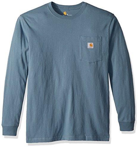 Carhartt Men's Workwear Jersey Pocket Long-Sleeve Shirt K126 (Regular and Big & Tall Sizes), Steel Blue, Large