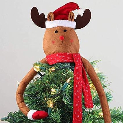 AerWo Reindeer Christmas Tree Topper, Lindo Top de Renos navideños Hechos a Mano del árbol