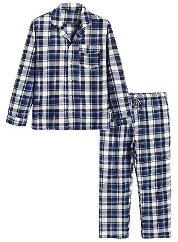 Latuza Men's Cotton Pajama Set Plaid Woven Sleepwear XXL Blue (Plaid Set Pajama Cotton)