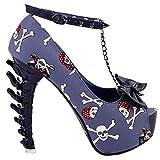 SHOW STORY Cowboy Blue Skull The Pirates Studs Bow Chain Peeptoe Ankle Strap Platform Dinosaur Bone Rough 5'' Pumps,LF80631BL39,8US,Blue
