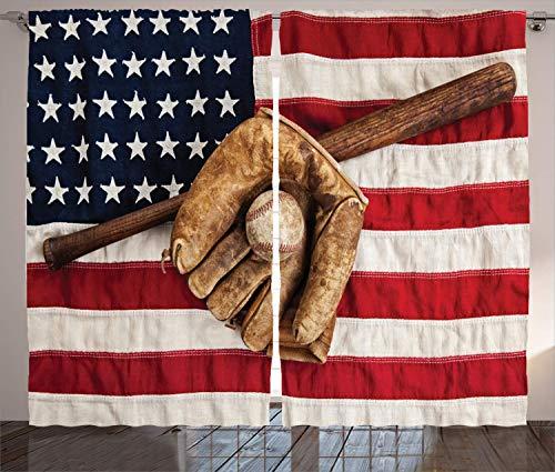 GULTMEE Baseball Curtains, Vintage Baseball League Equipment USA Grunge Glove Bat Fielding Sports Theme, Living Room Bedroom Window Drapes 2 Panel Set, Red Brown 108108inches (278278cm) (In Usa Diwan Furniture Set)