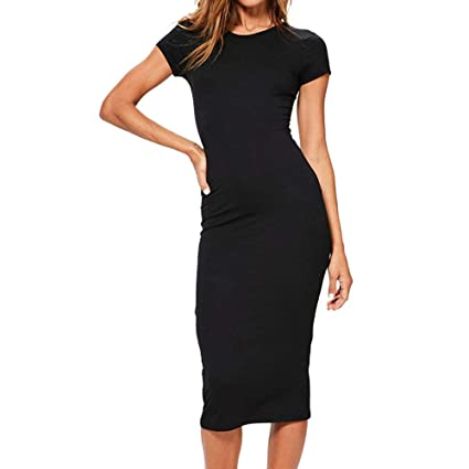 030e8c039 Amazon.com: Sexy Midi Women's Dress Short Sleeve O Neck Casual Evening  Party Bodycon Dress Clubbing Cocktail Party Toponly: Arts, Crafts & Sewing