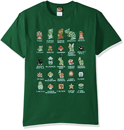 Nintendo Men's Pixel Cast T-Shirt, Kelly X-Large -