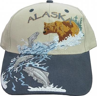New Alaska Brown River Bear with Salmon Ball Cap Hat Deluxe ()