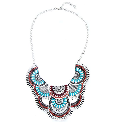 Miraculous Garden Womens Vintage Alloy Silver/Gold Boho Bohemian Necklace Ethnic Tribal Boho Necklace Turquoise Beads Crystal Necklace (Antique Silver)