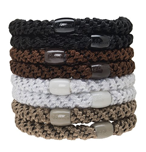 Set Attacking (L. Erickson Grab & Go Ponytail Holder Hair Ties, Neutral, Set of Eight - Exceptionally Secure with Gentle Hold)