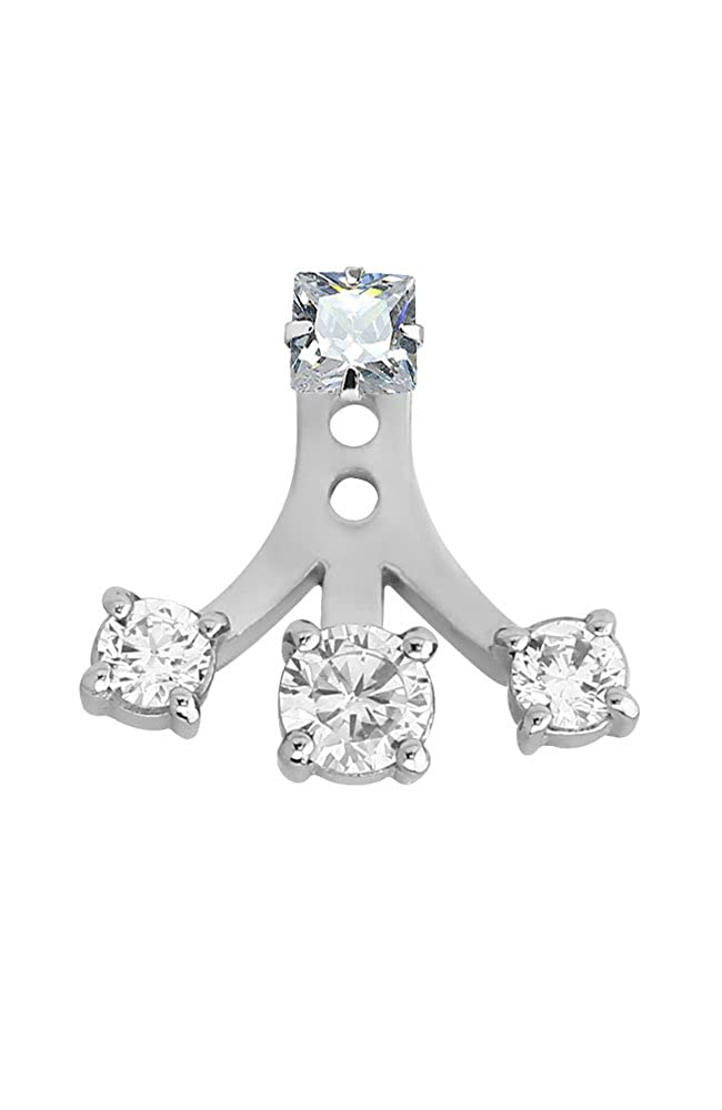 Nose Ring Bling 316L Surgical Steel Clear Triple Stone Ear Jacket Earrings Choose Your Style /& Gauge