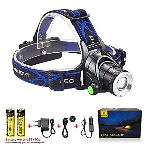 Caloics Zoomable Headlamp with XML T6 LED Super Bright 3 modes Flashlight for Hunting, Camping, Night Fishing, Running, Reading, Kids, Perfect Hands-free Waterproof Work (Dodge Night Runner)