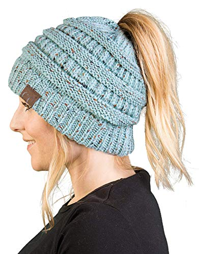 f385bdc71a1 Funky Junque BT-6800-3354 Messy Bun Womens Winter Knit Hat Beanie Tail -