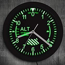 The Geeky Days Altimeter Neon Sign LED Wall Clock Altitude Meter Tracking Pilot Air Plane Modern Wall Clock Watch Gag Gift