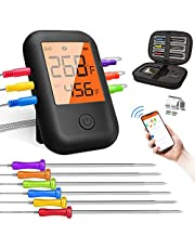 Wireless Meat Thermometer, Bluetooth Meat Thermometer with 6 Probes, Alarm Monitor Digital BBQ Meat Thermometers for Grilling Temperature & Smokers & Oven Proof, Support iOS & Android