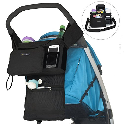 STROLLER ORGANIZER with Dual Cup Holders and Wristlet Wallet - Stylish Storage Fits All Strollers - Holds Phone, Keys, Snacks, Toys, Wipes and Baby Items - Best Stroller Accessories for Moms on the Go