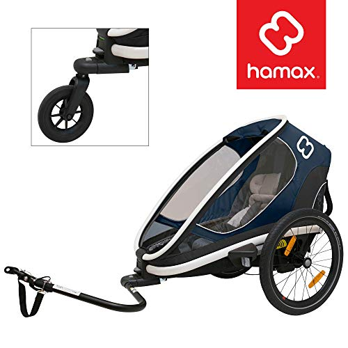 Hamax Outback Multi-Sport Child Bike Trailer + Stroller (Jogger Wheel Sold Separately) (One Seat, Navy/White)