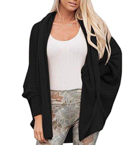 Veste en Tricot Femme Elgante Fashion Chauve-Souris Cardigan Automne Hiver Vintage Large Vtements Dsinvolte Uni Manche Manteau en Tricot Coat Outerwear Young Schwarz
