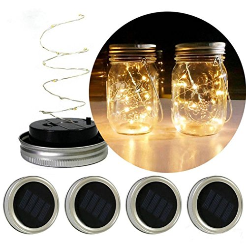 Creazy LED Fairy Light Solar For Mason Jar Lid Insert Color Changing Garden Decor (Yellow)