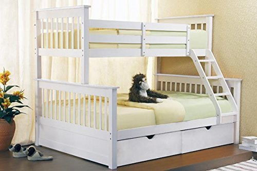 Triple Bunk Beds White Wooden Three Sleeper With Drawers New