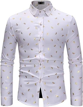 LISILI Camisas De Hombre Diseño Dorado Hojas 3D Impreso Manga Larga Ajustado Abotonar Elegante Camisa De Vestir,Blanco,XL: Amazon.es: Hogar