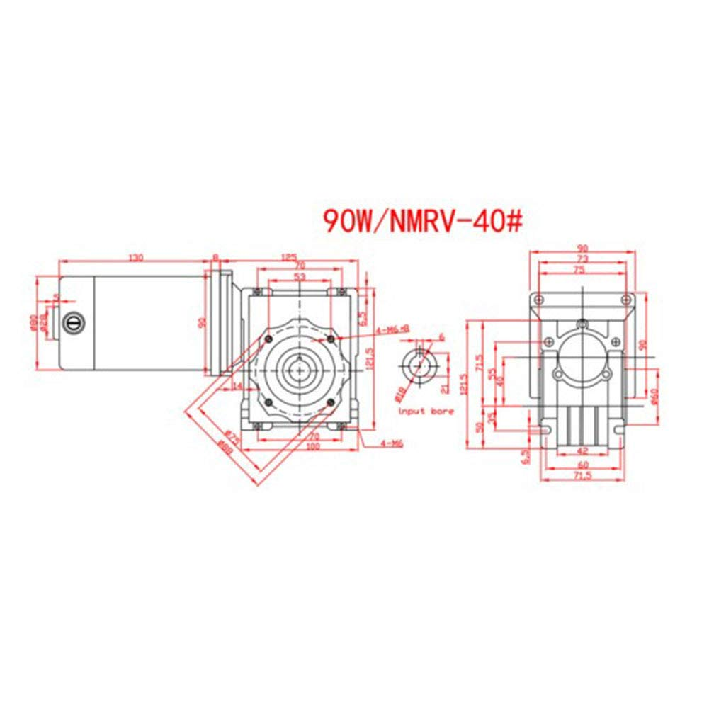 DC24V 90W 5D90GN-RV40 Worm Gear Motor Speed Adjustable with Self-Locking Worm Gear Motor 30K