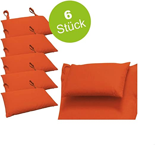 Indoba - Juego de 6 Cojines para Muebles de jardín, Color Naranja: Amazon.es: Jardín
