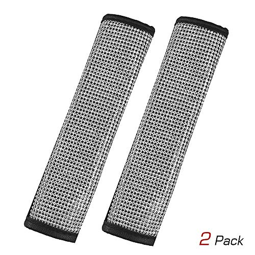 (Qimei Seatbelt Covers Car Seat Belt Strap Cover Center with Bling Matrix Diamond + Soft Velvet + Exquisite Leather Edging Soft Comfort Stylish Shoulder Pad 2 Pack (B - Seatbelt Cover 2 Pack))
