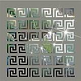 steam resistant adhesive - Acrylic Mirror Wall Stickers Geometric Greek Key Pattern Acrylic Plastic Mirror DIY Wall Art Decor 10pcs