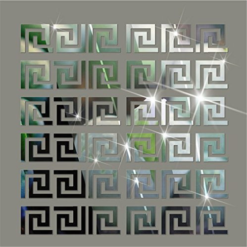 Acrylic Mirror Wall Stickers Geometric Greek Key Pattern Acrylic Plastic Mirror DIY Wall Art Decor 10pcs