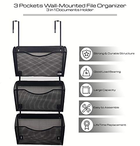 Eden Bazaar 3 Pocket Office Mesh Wall Mount File Hanging Organizer | Multipurpose Letter-Size Metal Over partition Wall Document Holder for Home and Office | Lifetime Replacement|