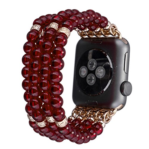 Crystal Series Mother Of Pearl (Tmore for Apple Watch Bands Fashion Resin Pearl Bracelets Unisex Handmade Strap Replace iWatch Band (Red,42mm))