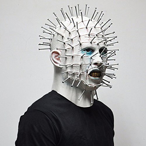 Pinhead Halloween Mask (Meetcute Scary Pinhead Masks Hellraiser Movie Cosplay Latex Adult Party)